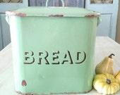 Vintage Enamel Bread Box - Mint Green Bread Box - English Shabby Chic Bread Box - Jadeite Green Bread Box