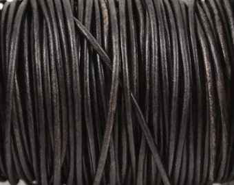 2mm Natural Dark Brown Leather Round Cord - Distressed Matte Finish