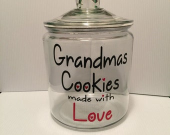 Personalized cookie jar, glass canister, apothecary jar, custom glass cookie jar