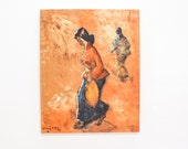 Original Vintage Oil Painting of Asian Women Walking, Coral Orange