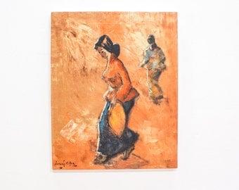 Original Vintage Oil Painting of Asian Women Walking, Coral Orange