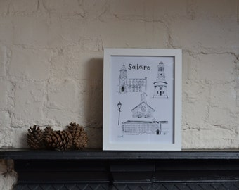 Framed illustration of Saltaire