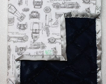 Baby boy blanket, cars blanket, automobiles, RKC, cars nursery, baby gift,  Boy Minky, Baby boy blanket, modern cars, navy blue lattice