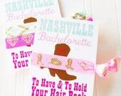 Nashville Bachelorette Party Favor - Hair Tie and Card for Bride Bachelorettes Bridesmaid Bride Tribe Maid of Honor Ponytail elastics