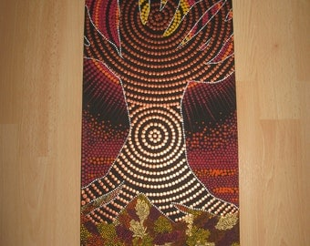Dot painting- Autumnal Brilliance- aboriginal dot style art,sun,scenic,painting,landscape,picture,wall hanging,wood,OOAK,tree of life,gift