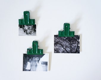 Industrial Metal Clips, Green, Set of 3