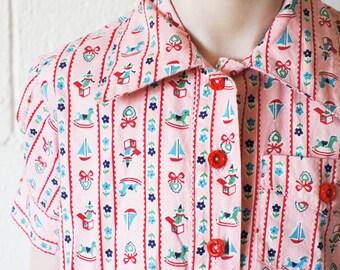 Vintage Girls' Dress Shirt, Red + Pink, Size 5/6