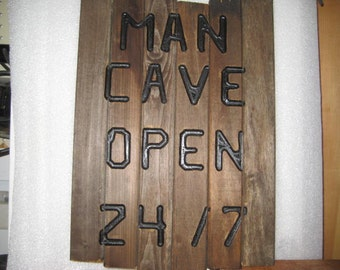 MAN CAVE OPEN 24/7 on re-purpose Wood Wall Plaque Sign