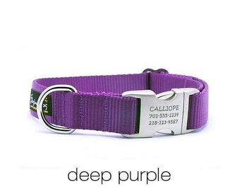 WINTER SALE 15% off Laser Engraved Personalized Buckle Webbing Dog Collar - Purple