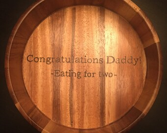 We're having a baby!! Personalized Wooden Bowl