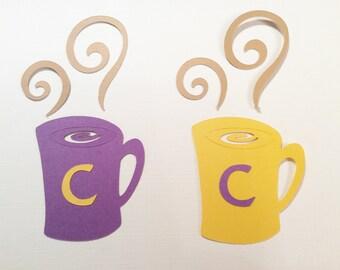 Handmade, Coffee Mug, C for Coffee, Cup, Purple, Yellow, Steam