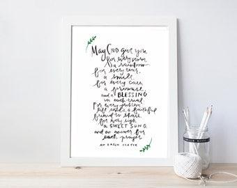 irish prayer, watercolor, print