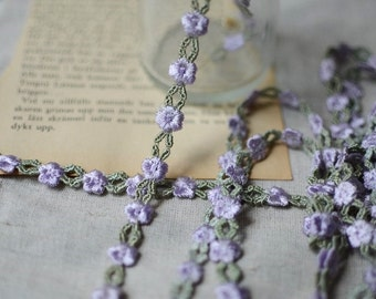 3/8 inch wide Purple/sage  Embroidered Flower Lace Trim price for 1 yard