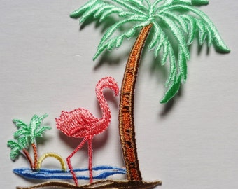 flamingo with palm tree IRON ON PATCH