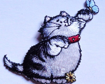 cat with butterfly iron on patch