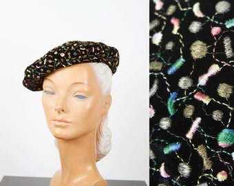 1940s Hat // Gold Embroidered Velvet Beret