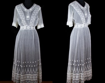 Edwardian Dress // White Lace Net Dress