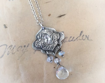 Moroccan silver and moonstone necklace