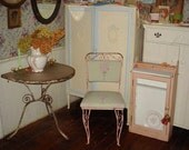 RESERVED 4 Old Paint Pink Iron Chairs French Chic Recovered Shabby Chic Roses on Pale Green OMG