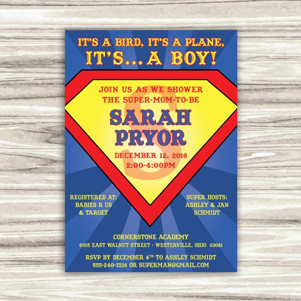 superman baby shower invitation printable digital file