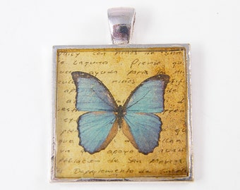 Butterfly Pendant - Blue Tan Silver Square Resin Nature Insect Jewelry Art Collage Charm