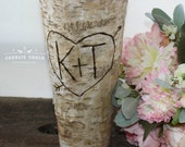 Rustic Personalized Birch Vase for Weddings and Bridal Shower Gifts, Woodland Wedding Decor