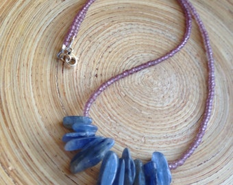 Kyanite necklace with purple glass beads // tiny bead necklace/ zen necklace blue crystal necklace