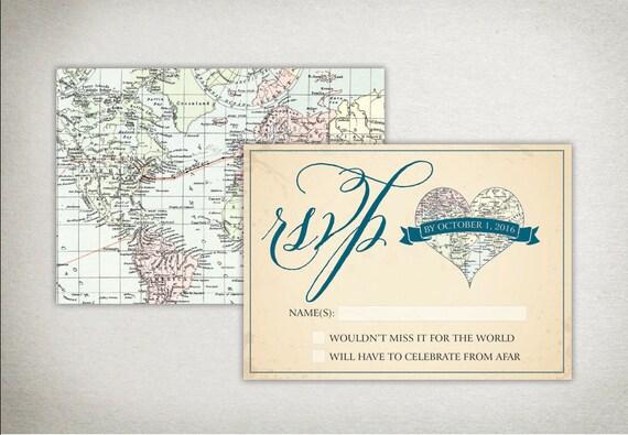 Print Map For Wedding Invitations: RSVP Card: Vintage Travel Map Wedding Response Card