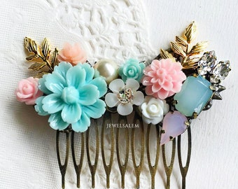 Seafoam Wedding Hair Comb Mint Flower Bridal Headpiece Pale Blush Pink Woodland Hair Pin Shabby Chic Bridesmaid Gift Hair Adornment