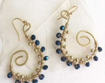Hand hammered brass and midnight blue crystal earrings/ Bridal jewelry/ Special Occasion/ Holiday gift for her/ boho earrings/ gold dangle e