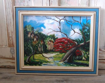 Original Acrylic Painting Florida Highwaymen Style Acrylic Painting Landscape Painting Florida Landscape Painting from The Eclectic Interior