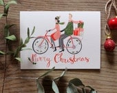 Christmas Tandem - Illustrated Christmas Card