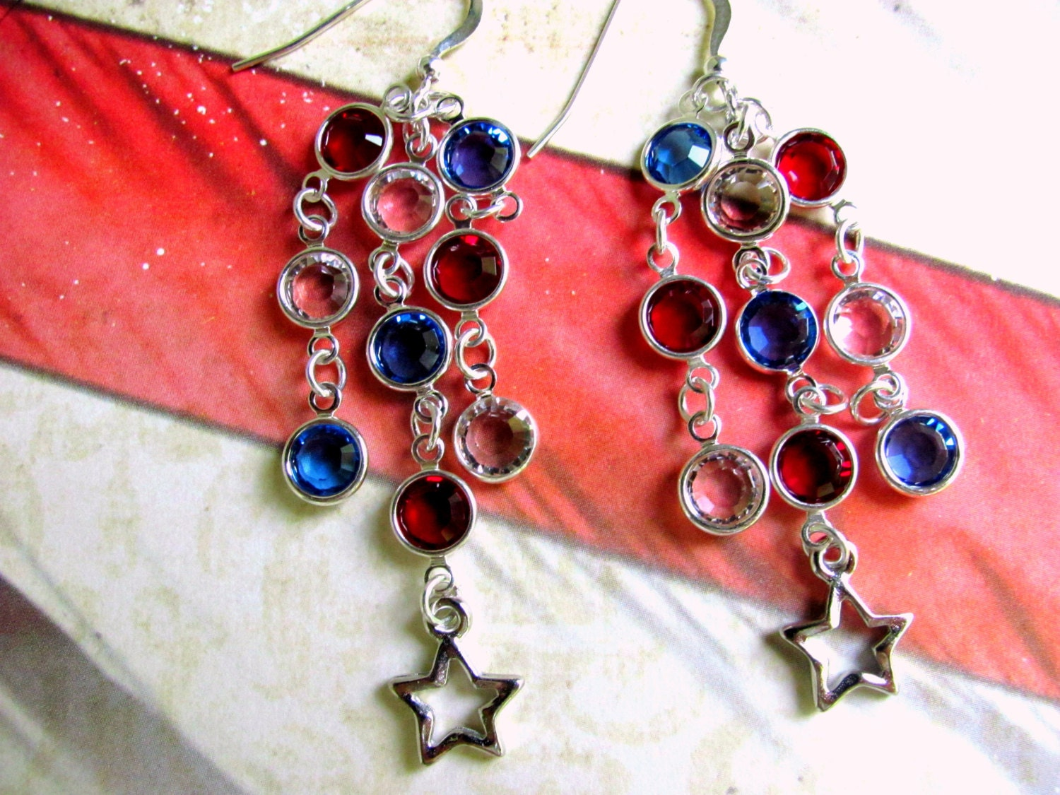 4th of july earrings fourth of july earrings white blue earrings patriotic 5035