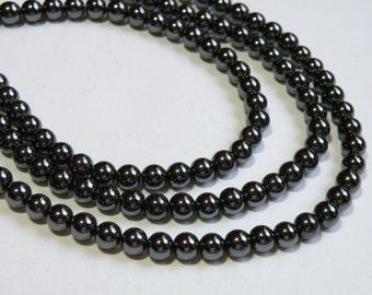 Hematite round beads with metallic luster 6mm full strand JO3