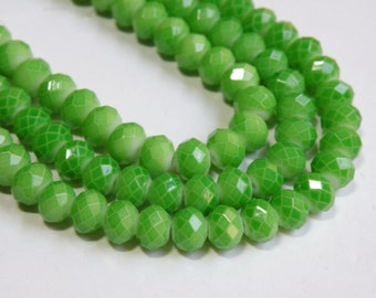 Neon Spring Green faceted glass rondelle beads 8x6mm half strand 08-955