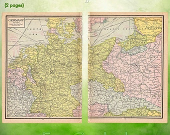 Vintage Atlas Map 1920 Germany Antique Map full color World Atlas German Map Paper Ephemera Historical 10 x 14.5 Inches WR312