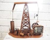 Large oil rig derrick music box texas mechanical pump copper vintage