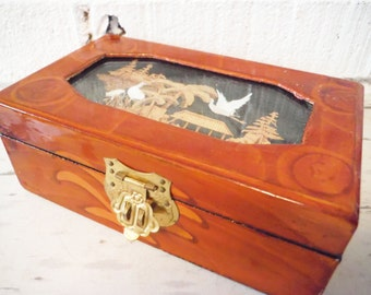 Jewelry box traditional Chinese carved wood inset red lining vintage lacquer brown black brass clasp