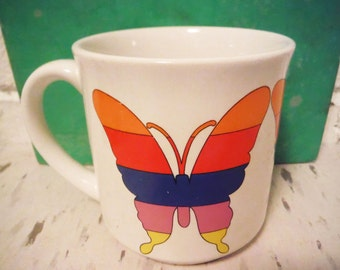 Vintage rainbow coffee mug butterfly mod retro 1980's pencil cup