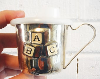 Vintage silver baby sippy cup retro nursery lidded abc usable enameled