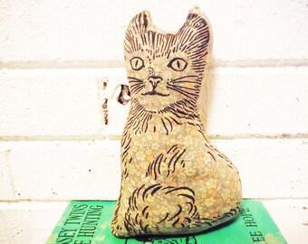 Vintage cat sachet pillow cat printed fabric 1940's cottage decor kitteh kiitten cat lover
