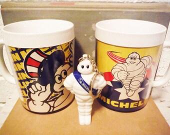 Two Michelin man coffee mugs thermo serv plastic retro 1980's vintage advertising memorabilia tires automobile