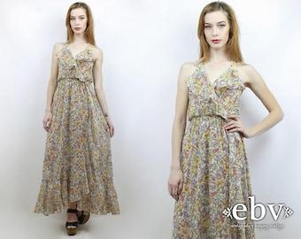 Hippie Dress Hippy Dress 1970s Dress Vintage 70s Ruffled Floral Maxi Dress S M Hippie Wedding Dress Boho Wedding Dress Festival Dress