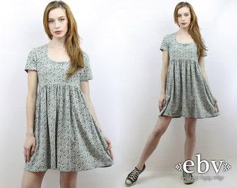 90s Babydoll Dress Green Floral Dress 90s Grunge Dress Floral Mini Dress 90s Mini Dress Vintage 90s Grunge Floral Babydoll Dress S M