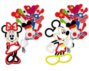 Mice with epkot balloons applique design digital instant download