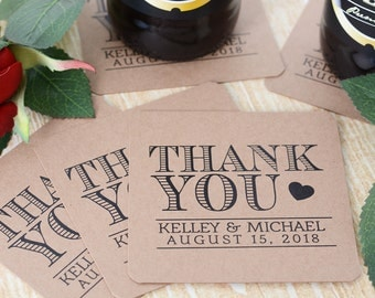 Thank You Wedding Coasters - Kraft Wedding Coasters - Wedding Beverage Coasters - Personalized Wedding Coasters - Water Resistant Coasters