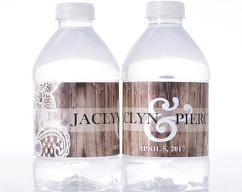 60 Wedding Water Bottle Labels - Wedding Water Labels - Custom Water Bottle Labels - Waterproof Water Bottle Labels - Rustic Wood and Lace