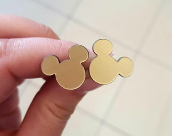 Disney Mickey Mouse silhouette stud sterling silver earrings Gold post earrings Mickey earrings Gold glass stud earrings