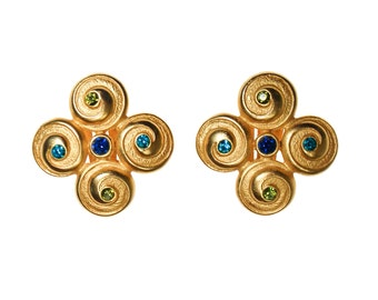 Anne Klein Couture Earrings, Brushed Gold Tone, Blue, Green Rhinestones, Etruscan Influence, Quatrafoil, Clip On, Designer Jewelry