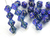 6mm Fancy Blue Bicones, Mixed Blue with golden inlays, Czech glass pressed beads - 30Pc - 0067